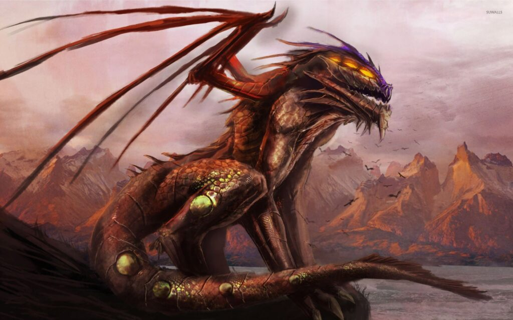 A dark red scaled dragon guards his territory, his eyes lit up with rage.